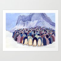 Huddling Penguins Art Print