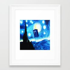 Starry Night Blue Phone Box Framed Art Print