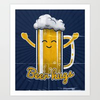 Beer Hugs Art Print