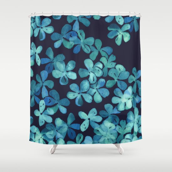Hand Painted Floral Pattern In Teal Amp Navy Blue Shower