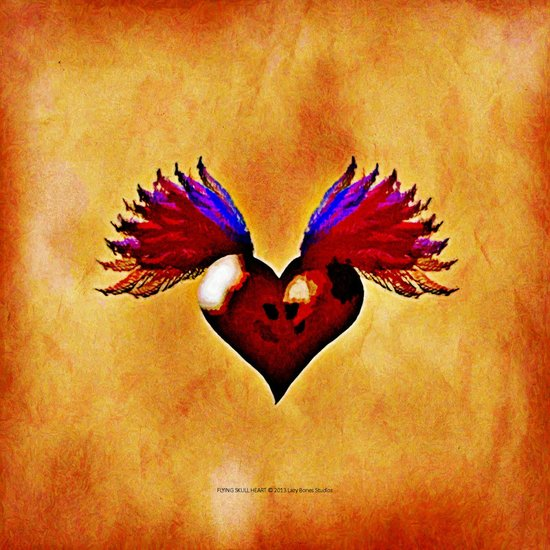 FLYING SKULL HEART Canvas Print