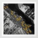 New York City, Yellow Cabs | B/W  Art Print