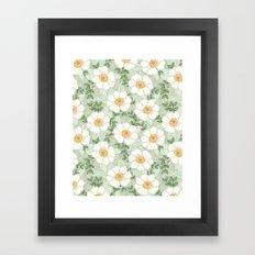 Sage pastel white green flowers blossom garden summer spring nature pattern painting florals Framed Art Print