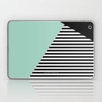 Mint Color Block with Stripes // www.penncilmeinstationery.com Laptop & iPad Skin