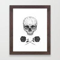 Skull N' Roses Framed Art Print