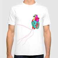 corazón de colores Mens Fitted Tee White SMALL