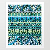 Blue Green Patterned Str… Art Print