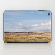 Blue sky and white clouds above sunlit moorland. Derbyshire, UK. iPad Case