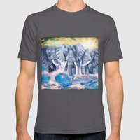 Elephants in crashing waves Mens Fitted Tee Asphalt SMALL