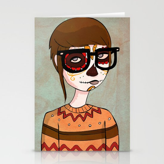 Day of the Dead Hipster Stationery Card