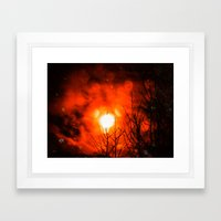 Burning Moon Framed Art Print