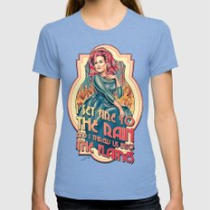 I Set Fire To The Rain -… Womens Fitted Tee Tri-Blue SMALL