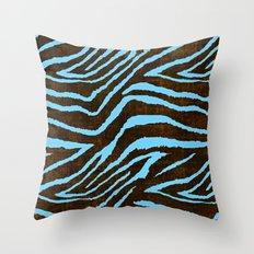 Zebra Animal Print Blue and Brown Throw Pillow