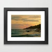 Boat on sunset Framed Art Print
