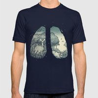 Lungs Mens Fitted Tee Navy SMALL