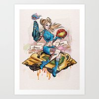 Pinup Samus Tattoo Bomber Girl Art Print