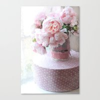 Shabby Chic Cottage Pink Impressionistic Peonies in Vintage Sugar Bucket Canvas Print