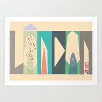 london Art Prints featuring London by Oh! My darlink