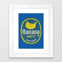 Banana Sticker On Blue Framed Art Print