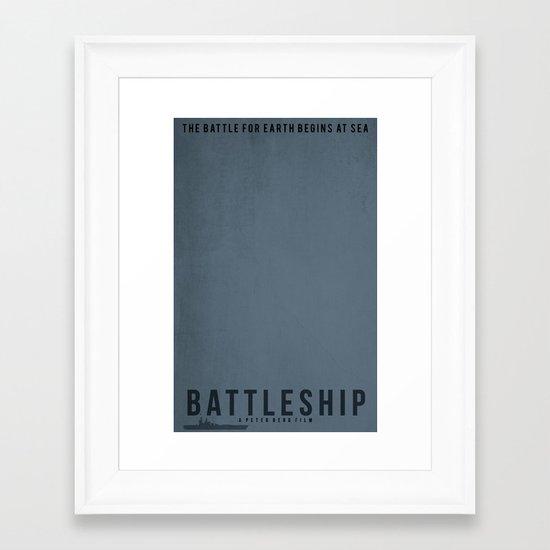 Minimalist Battleship Framed Art Print