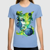 Evelin Green (Set) by carographic watercolor portrait Womens Fitted Tee Tri-Blue SMALL