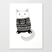 Cat with pattern  Canvas Print