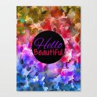 HELLO BEAUTIFUL Colorful… Canvas Print