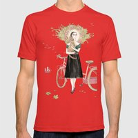 Girl And Cat With Pink B… Mens Fitted Tee Red SMALL