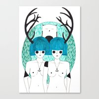 Antler Twins Canvas Print