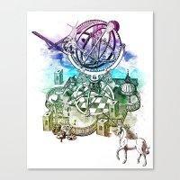 Strange Unicorn Garden Canvas Print