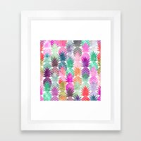 Bright exotic pineapples pastel watercolor pattern Framed Art Print