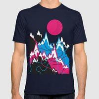 Mountains landscape Mens Fitted Tee Navy SMALL