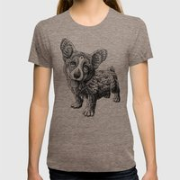 Corgi Puppy Womens Fitted Tee Tri-Coffee SMALL