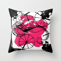 Briar Rose with Spinning Wheels Throw Pillow
