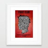 Typography Tyler Durden … Framed Art Print