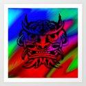 Vicious Tribal Mask Black Rainbow 003 Art Print