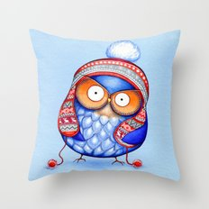 Winter Hat Owl Throw Pillow