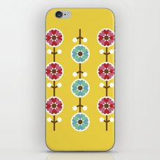 Scandinavian inspired flower pattern - yellow background iPhone & iPod Skin