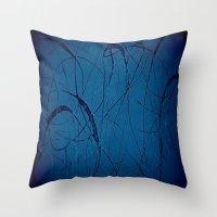 Blue Shower Curtain Throw Pillow