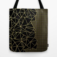 Ab Outline Grid Black and Gold Tote Bag
