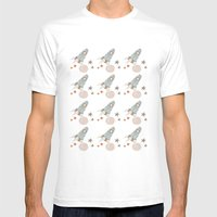 spaceship collage pattern Mens Fitted Tee White SMALL