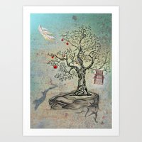 Fruits of Heaven - the Beauty of an Empty Birdcage Art Print