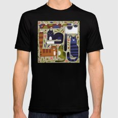 FIELD OF CATS SMALL Black Mens Fitted Tee
