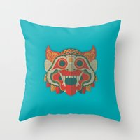 Paper Mask Throw Pillow