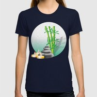 Meditation stones, bamboo and candles Womens Fitted Tee Navy SMALL