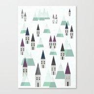 Village On Winter Canvas Print