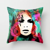 colorful hair Throw Pillow