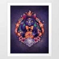 Maneki Luna Art Print
