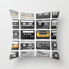 Retro Tapes Throw Pillow
