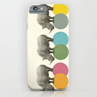 iPhone Cases featuring Rambling Rhinos by Cassia Beck